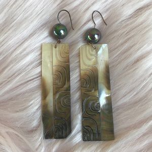 Carved Abalone and pearlescent bead earrings